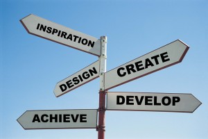 Create Inspiration design develop achieve sign post